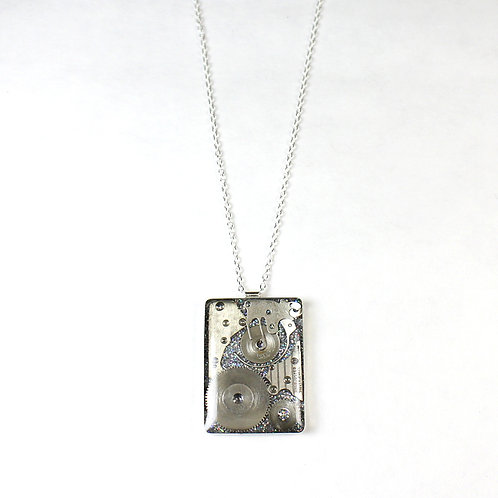 Steampunk Large Silver Rectangle Necklace