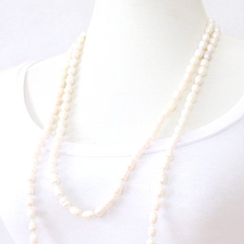 Long Freshwater Pearl Necklace - White