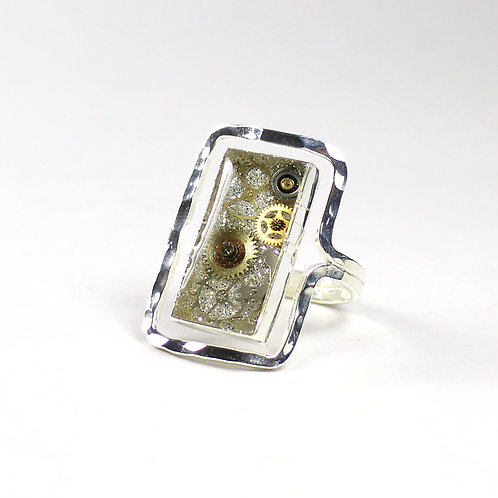 Steampunk Frozen Time Rectangle Ring