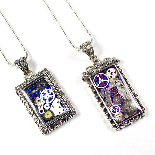 Frozen Time Limited Edition Square Antique Sterling Silver Necklace