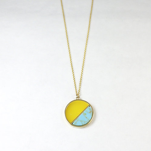 Teal Marble Full Moon Necklace