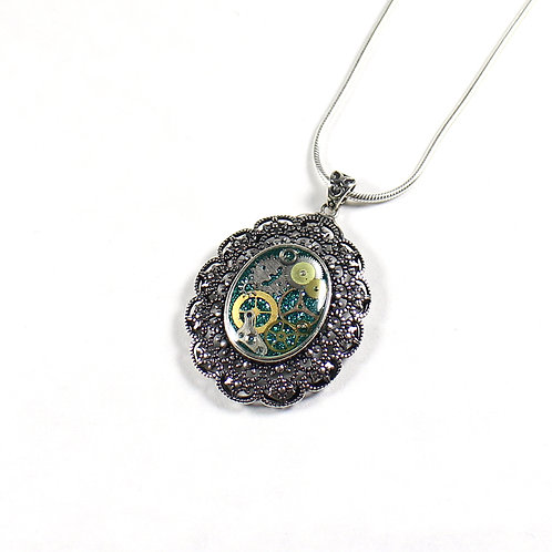 Frozen Time Limited Edition Oval Antique Sterling Silver Necklace
