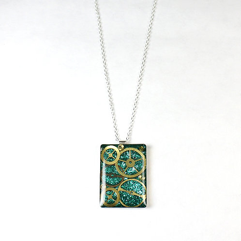 Silver Rectangle Frozen Time Necklace - Large