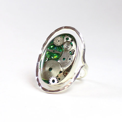 Steampunk Frozen Time Oval Ring
