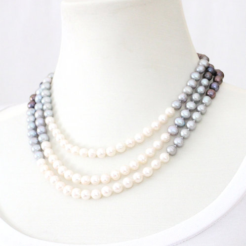 Triple Strand Freshwater Pearl Necklace - Multi Color