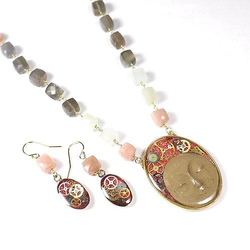 Steampunk Quartz Gemstone Necklace Set