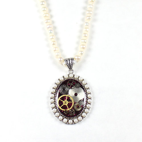 Steampunk Frozen Time Freshwater Pearl Necklace