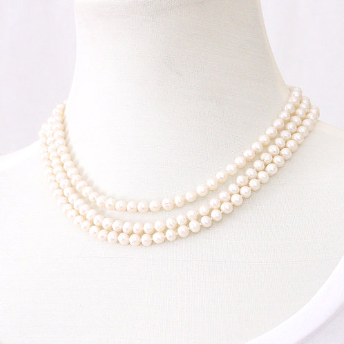 Triple Strand Freshwater Pearl Necklace - White