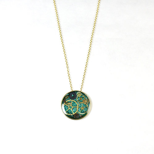 Gold Round Frozen Time Necklace - Large