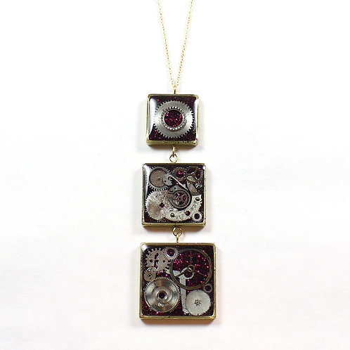 Three Square Tiered Frozen Time Necklace