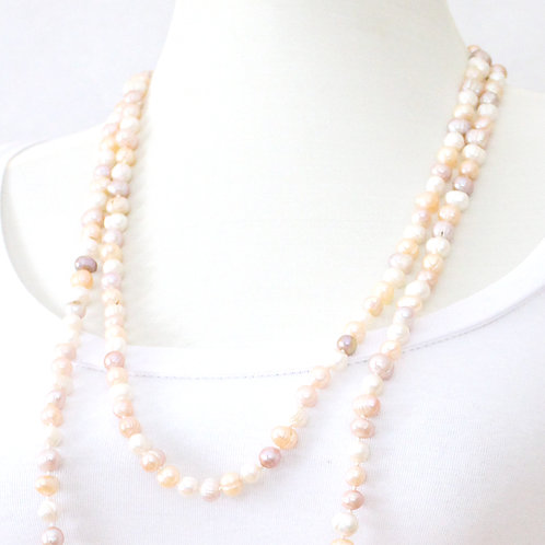 Long Multicolored Freshwater Pearl Necklace