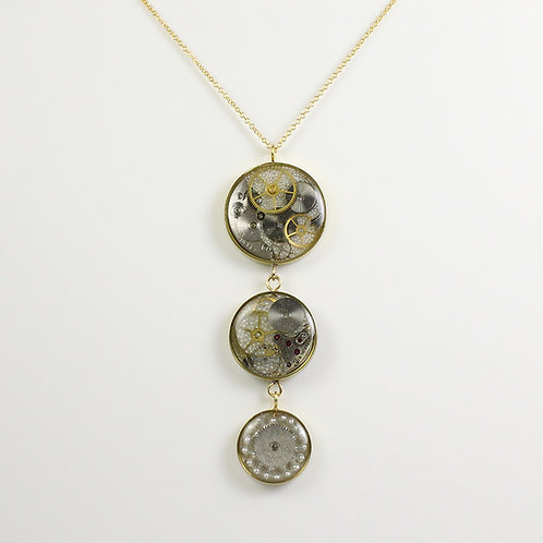 Steampunk Gold Three Circle Tiered Necklace