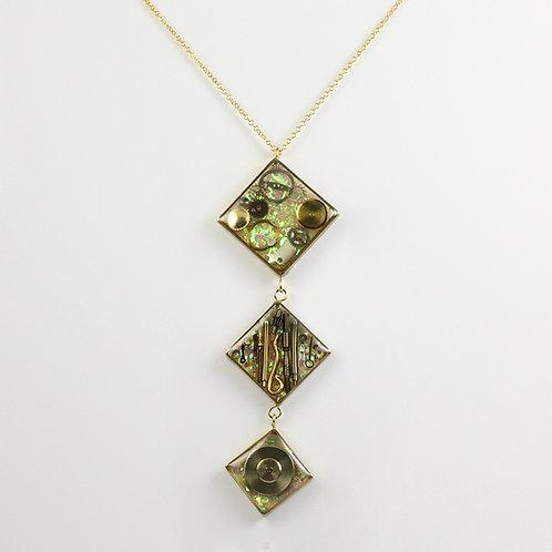 Steampunk Gold Three Diamond Tiered Necklace