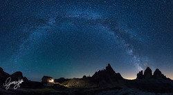 Milky Way arch and Tre Cime di Lavar