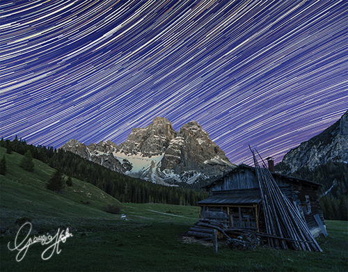 Startrail over Pelmo Mount