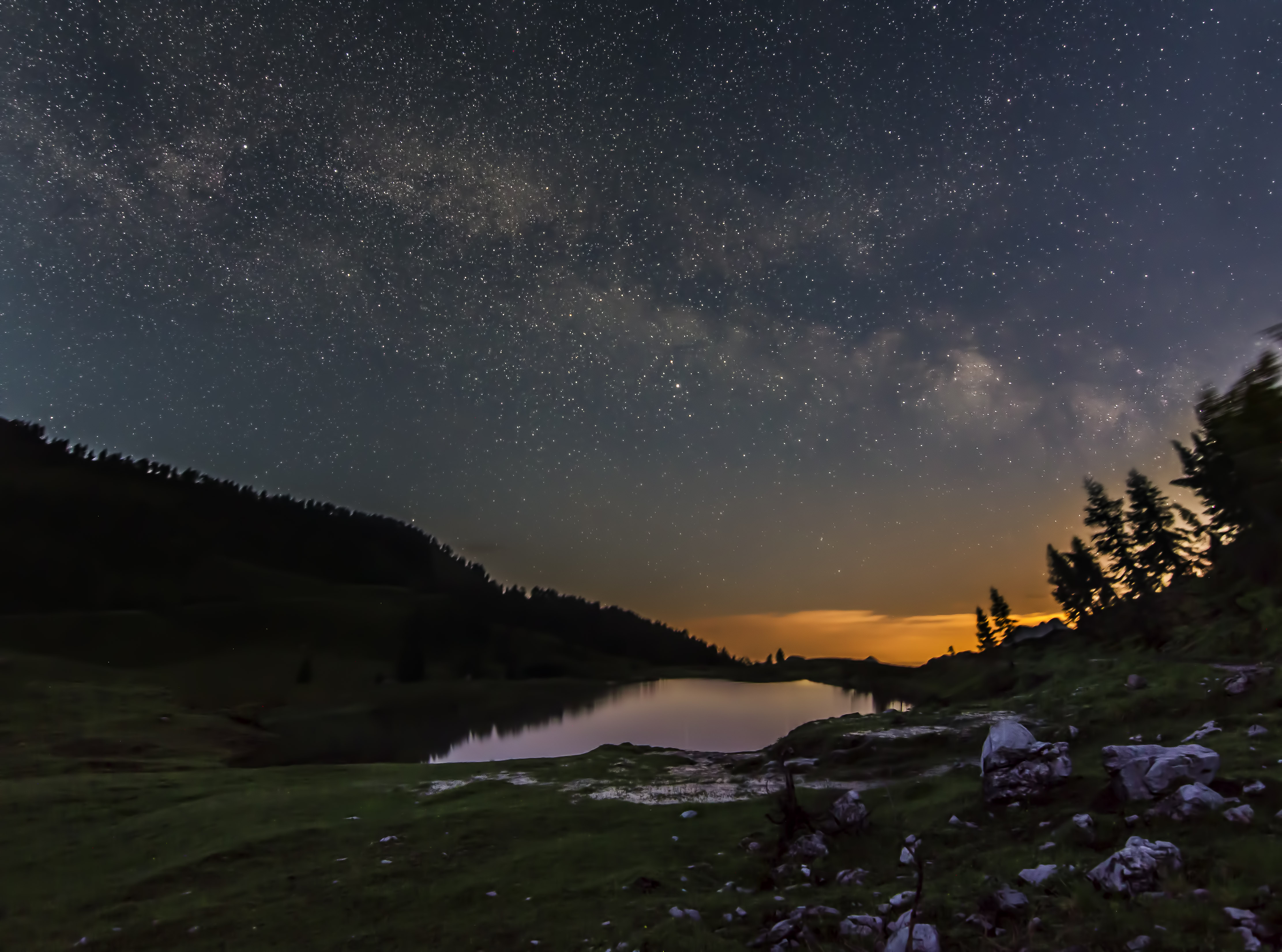 Milky Way over lake