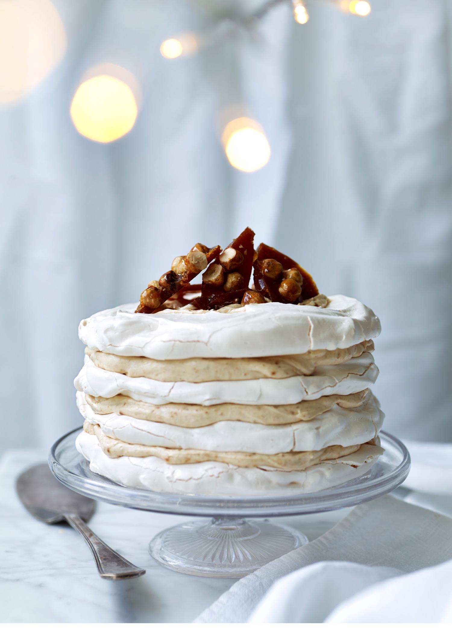 Hazelnut-praline-meringue-stack