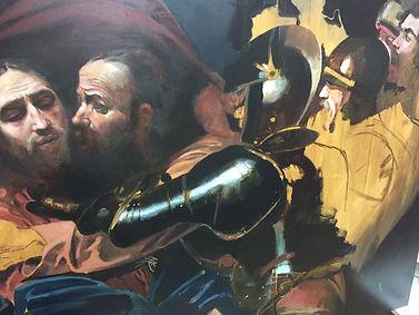 Caravaggio taking of Christ study