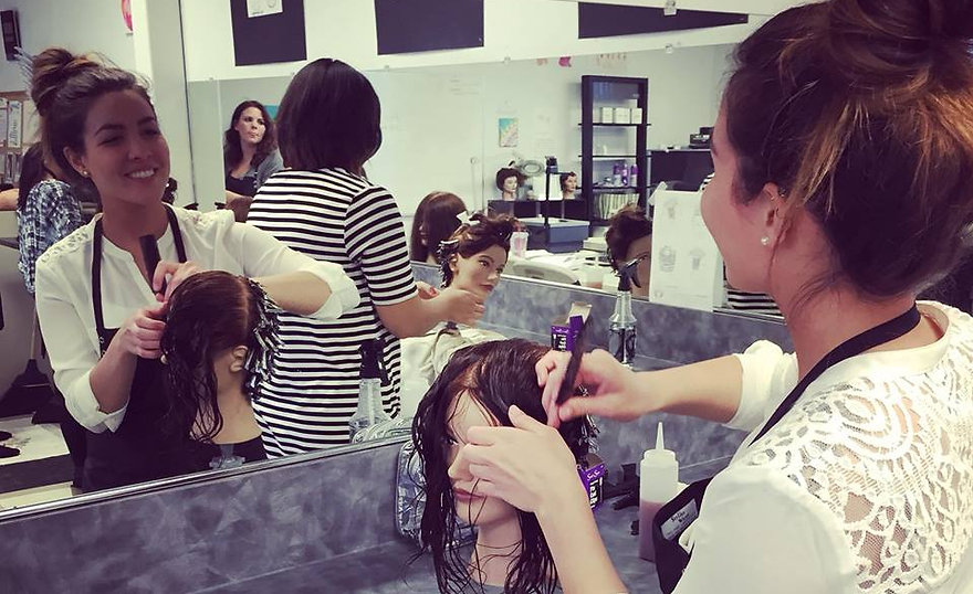 Cosmetology students refine skills on mannequins