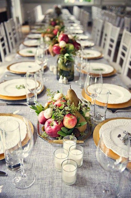 Decoración mesa boda con centros de frutas