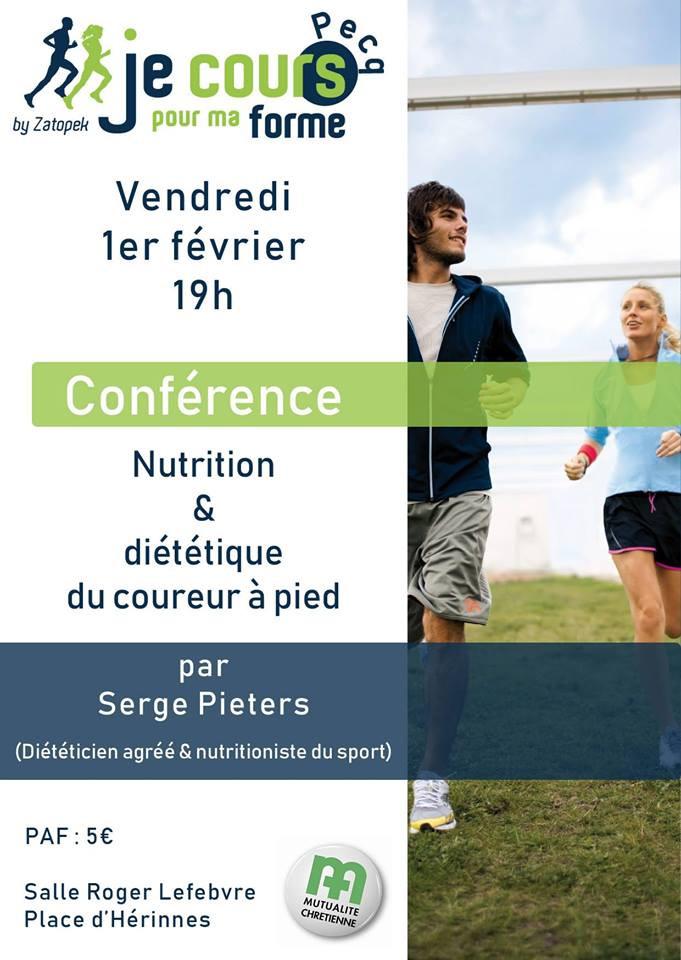 """Ce vendredi, dans le cadre du programme """"Je cours pour ma forme"""", le groupe de Pecq organise une conférence sur la nutrition et la diététique du coureur à pied. Envie de m'écouter et d'en savoir plus. N'oubliez pas de vous inscrire."""