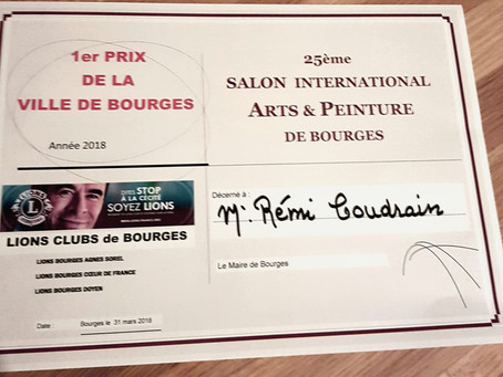 """Rémi Coudrain 1er prix de la ville de Bourges avec """"Les Oiseaux"""" (bronze)"""
