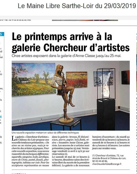 La Saxophoniste/Coudrain-Sculpteur/Le Maine Libre/29/03/2019