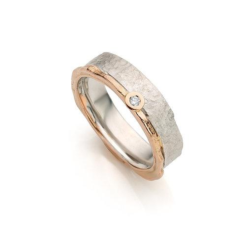ring - zilver -18kt rose goud