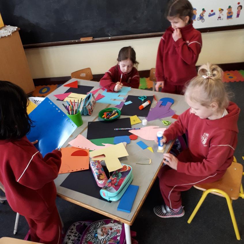 We drew around shapes.
