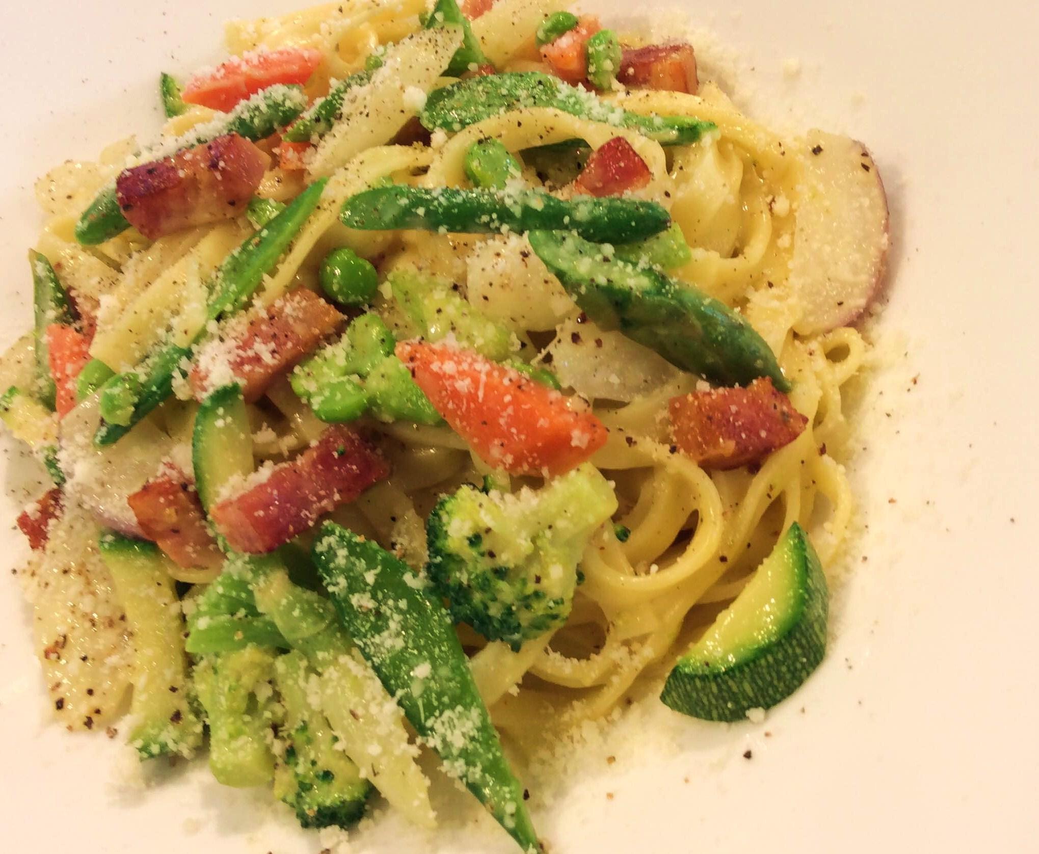 Carbonara con verdure