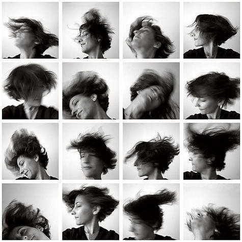 Erin Antognoli self portrait headbanging shaking hair flying
