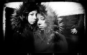 Holga camera photograph multiple exposure portrait black and white film Washington DC metro