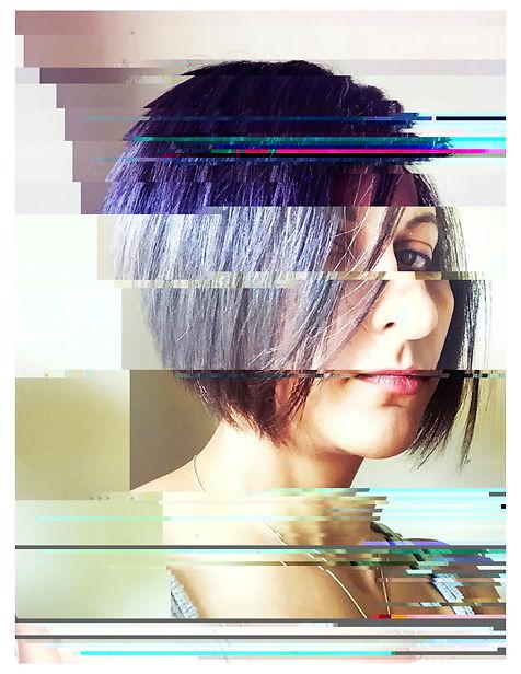 Erin Antognoli self portrait digital corruption lines color