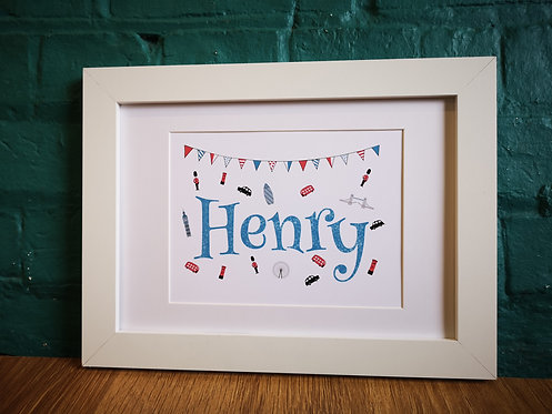 Personalised Boy's London Print