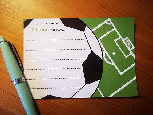 Personalised Football notecards