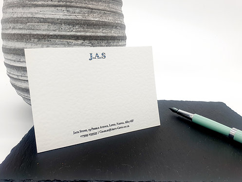 Luxury Personalised Notecards - Blue Stripy Initials (Pack of 6)
