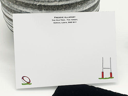 Personalised Rugby Notecards