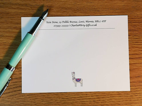 Llama Personalised Notecards