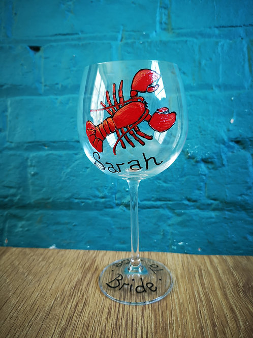 My Lobster Gin glass