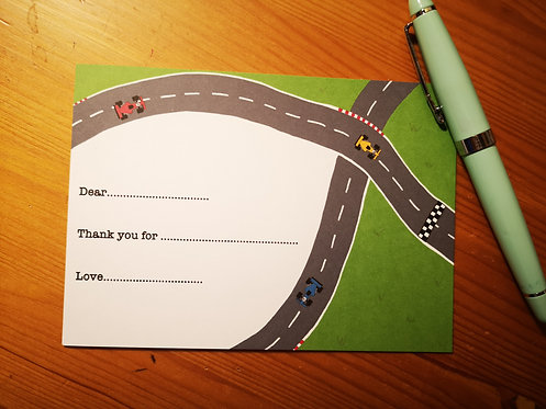 Personalised Racing Car Notecards