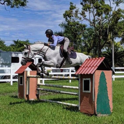 Owner and Trainer, Samantha, preparing her horse Classic for the hunter ring.
