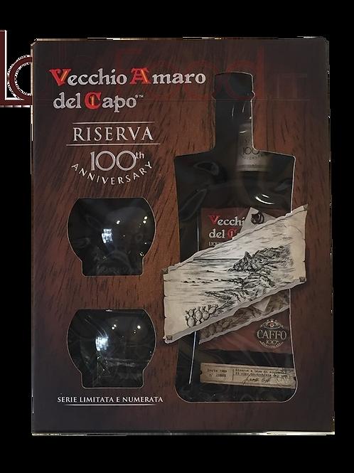 Vecchio Amaro del Capo - Riserva del Centenario con 2 bicchieri - Caffo 1915