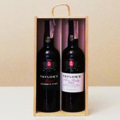 Cassetta legno contenente 2 bottiglie di Porto Taylor's : Ruby + Tawny