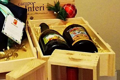 Confezione regalo scatola legno 2 bottiglie