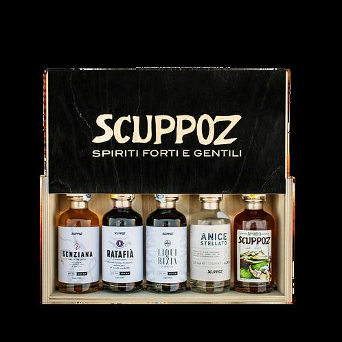 5 liquori da 200 ml in confezione di legno - Scuppoz