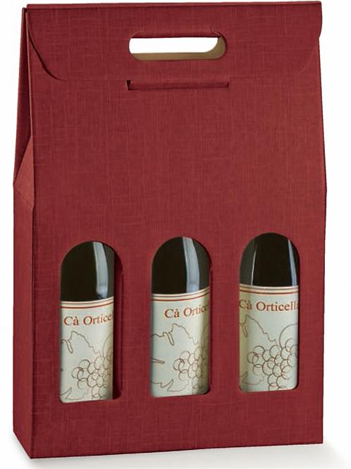 Scatola regalo bordeaux per 3 bottiglie vino o spumante