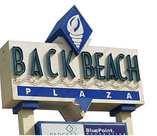 Back Beach Plaza Sign