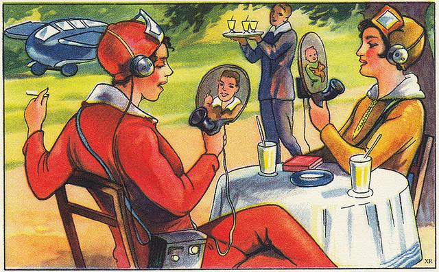 Una immagine tratta da un numero di Popular Science del 1930, che prefigura la videoconferenza - dal sito [https://www.flickr.com/photos/x-ray_delta_one/8233238577/in/photostream/]
