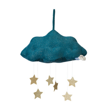 Cloud blue corduroy with gold stars