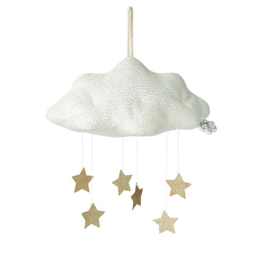 White cloud with gold stars